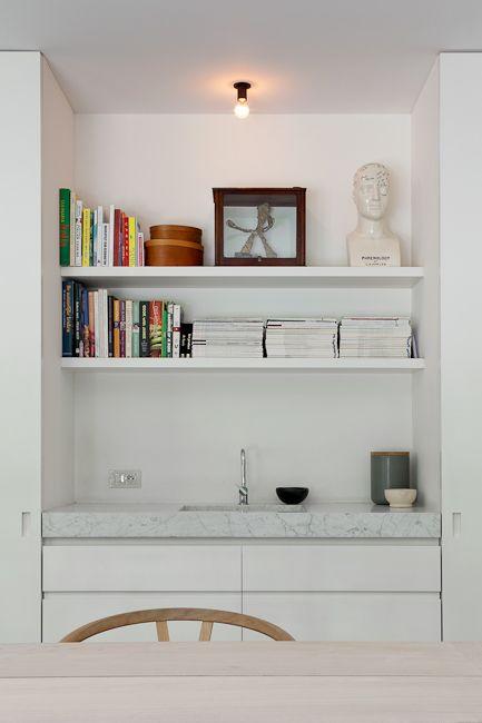 kitchen, marble, shelves