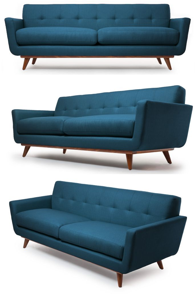 If you like Mid-Century modern, you'll love this sofa. I'm impressed how this teal blue adds a little color too. I'm not usually one for color in my furniture but if it's one piece and a timele