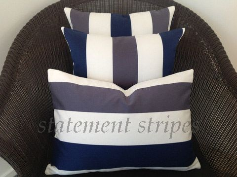 Classic stripes, bold and brilliant. Choose from red and light grey with white, or this beautiful blue version. If you can't decide, why not try one of each? http://www.homesteadrange.co.nz