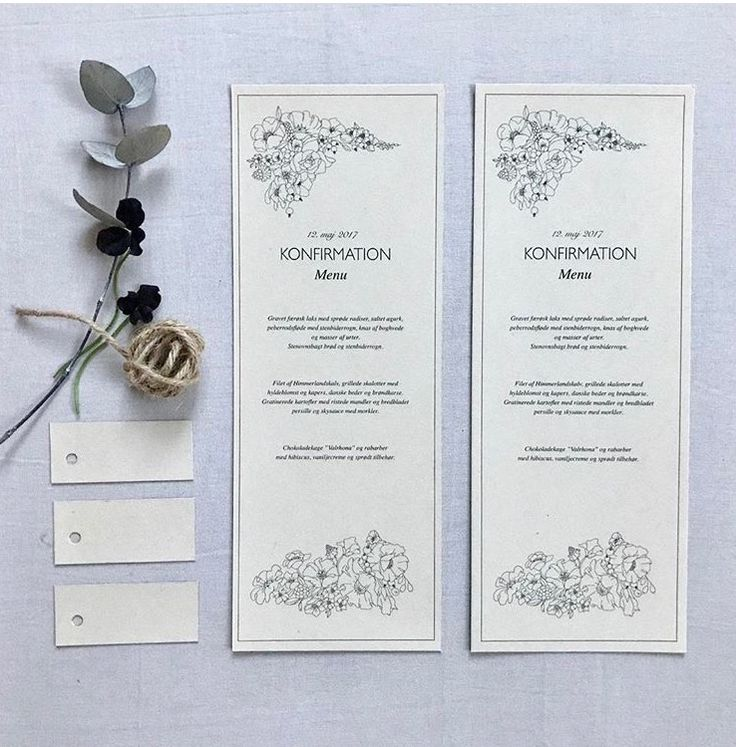Graphic DIY Menu cards and table decoration for a confirmation