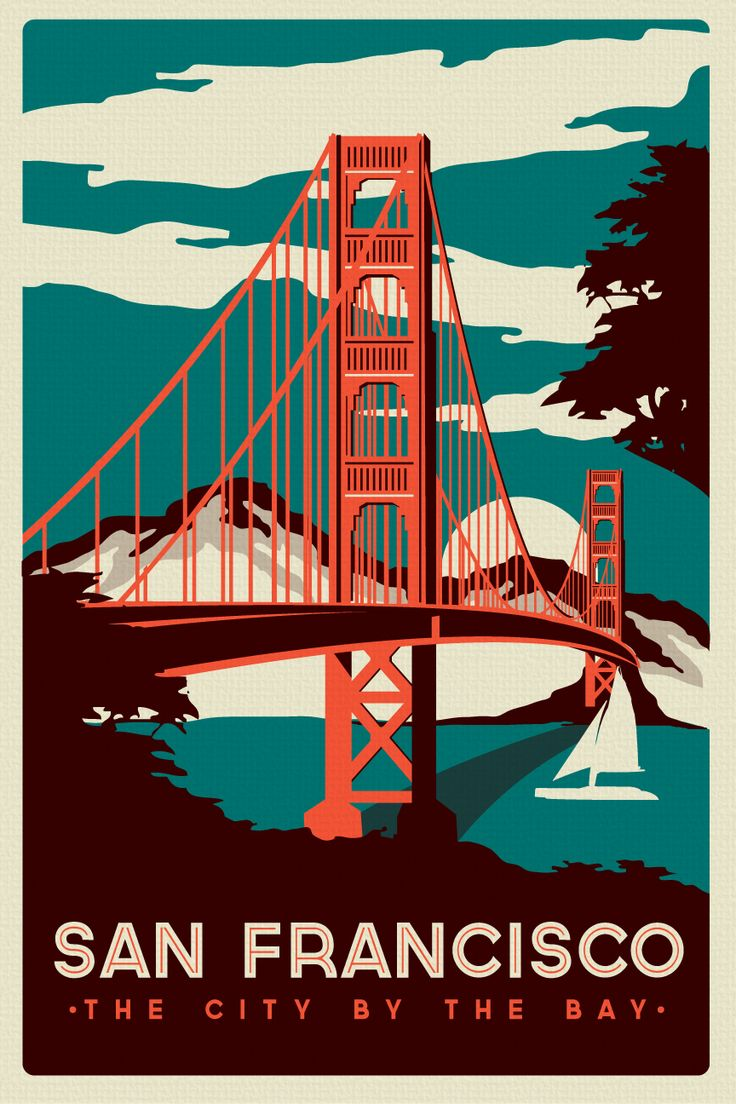 an Francisco Golden Gate Bridge Retro Vintage Poster Silk Sc