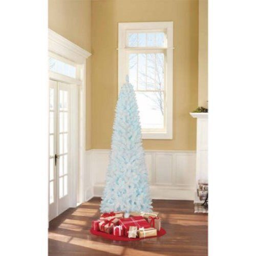 Christmas Tree Artificial Blue Lights 7' Tall With Stand Holiday Decor White NEW #1
