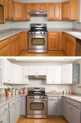 Nice kitchen makeover with painted cabinets. White and gray over oak. #paintedcabinets