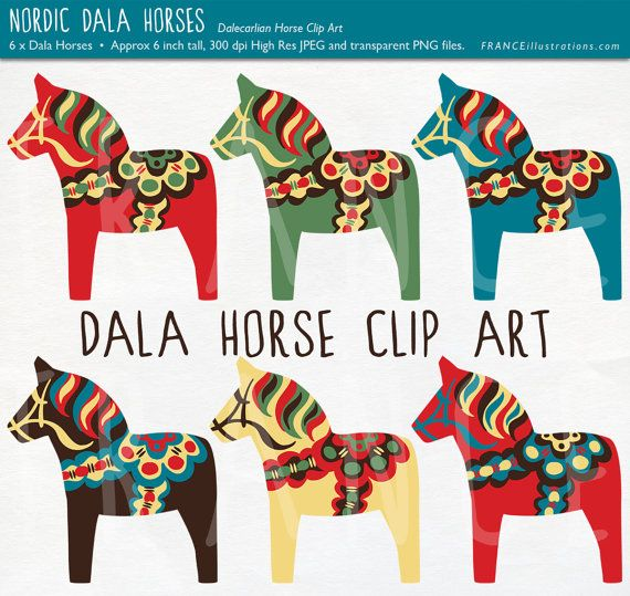 Dala Horse Clip Art. Traditional Nordic Folk Art Designs. Swedish Scandinavian Clipart. Dalahäst/Dalecarlian horse. Commercial Use. Pony.