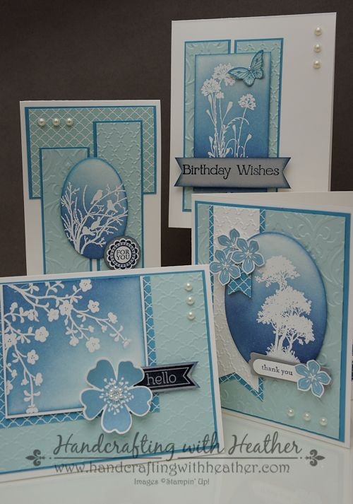 Stampin' Up - Serene Silhouettes - beautiful blue card set with white embossing