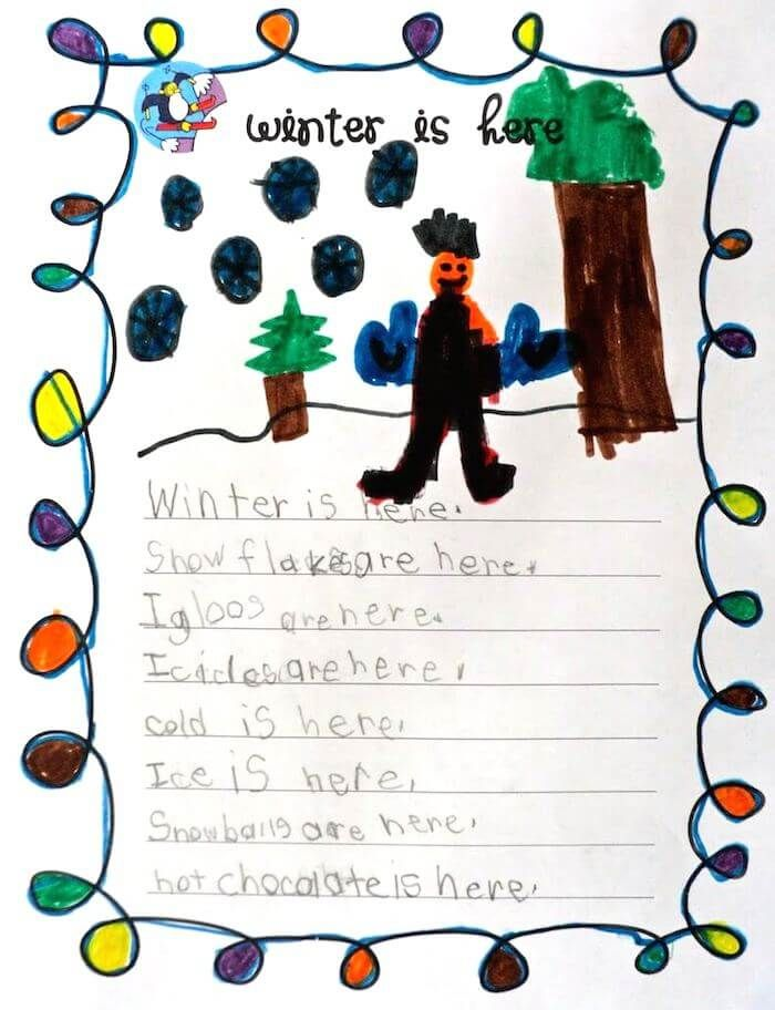 Winter is here writing activity for Grade 1