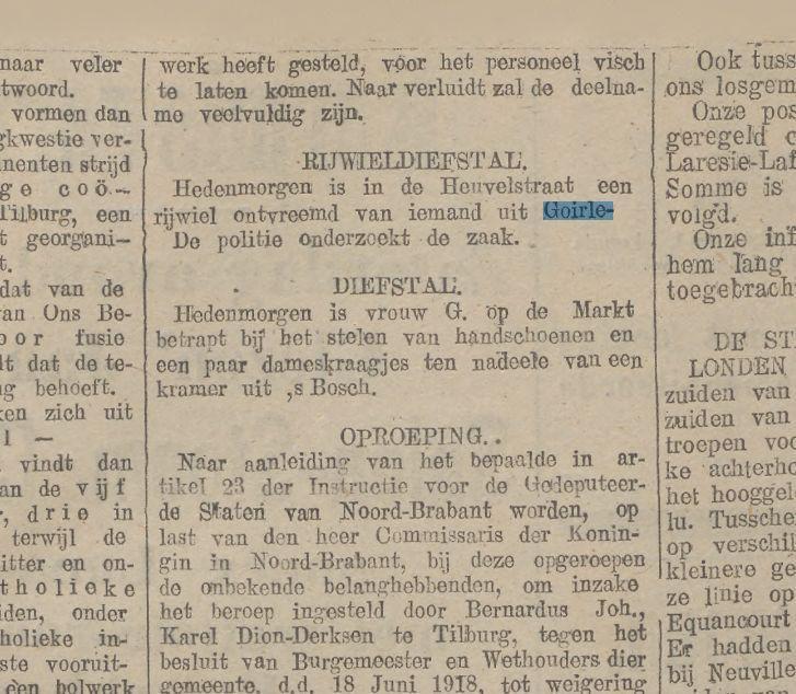 RIJWIELDIEFSTAL. Krantentitel:Tilburgsche courant Datum, editie:06-09-1918