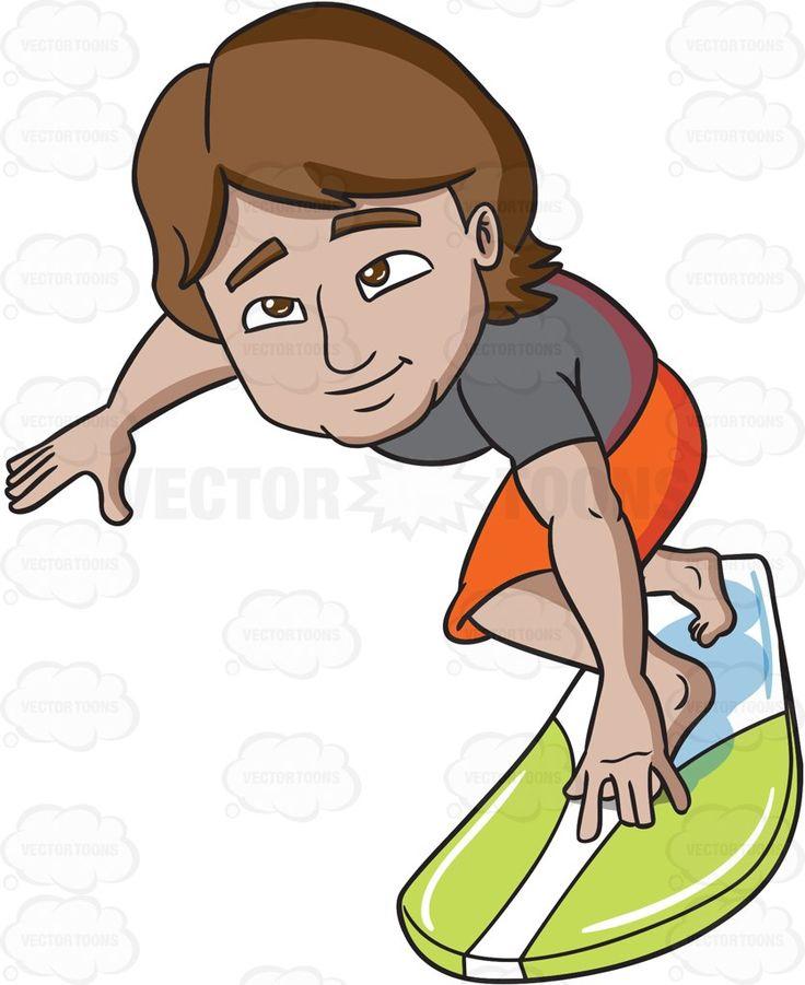 A surfer guy practicing his balance #cartoon #clipart #vector #vectortoons…