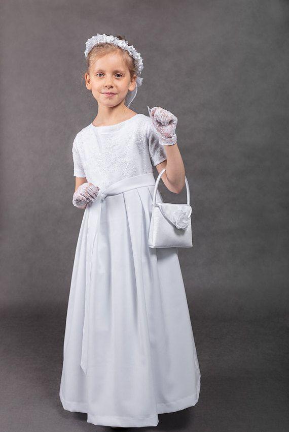 Erste Kommunion weiß Kommunion Kleid Kommunion Hochzeit Kleid ...