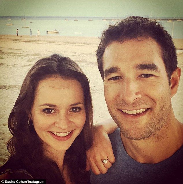 So happy: Olympic figure skater Sasha Cohen revealed on Monday she is set to wed Tom May on Instagram