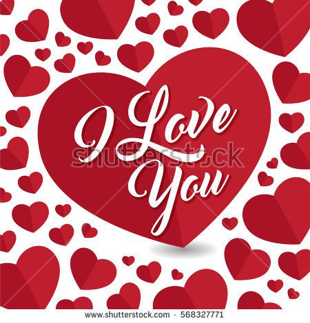 I love you. Greeting, post card, a hard shape pattern with red hearts fore st. Valentines day.