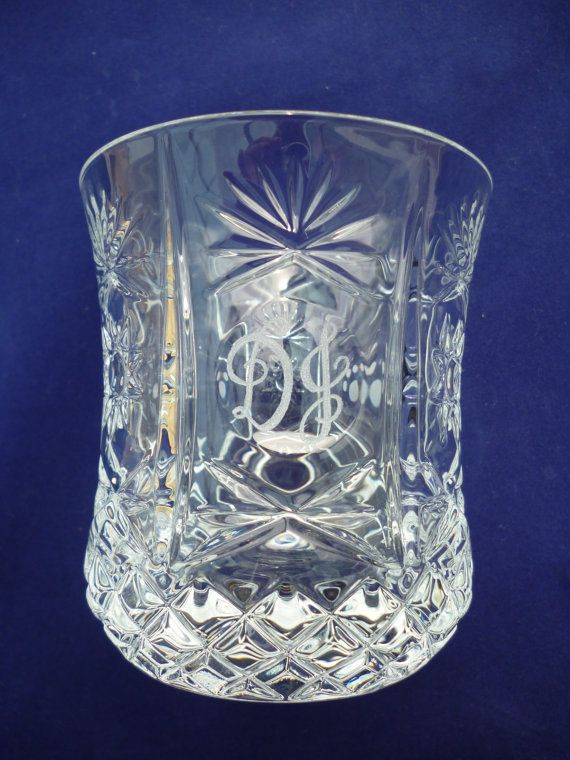 Personalised lead crystal cut glass whisky tumbler with monogram initials by CoveCalligraphy, £16.50