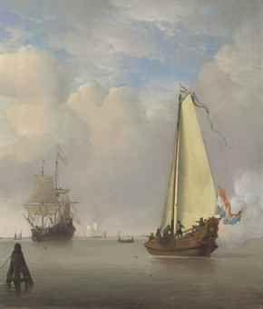 Willem van de Velde II (Leiden 1633-1707 London) The Evening Gun - Shipping in a calm with a Dutch Bezan yacht Price realised GBP 1,426,500 USD 2,196,810 Estimate GBP 600,000 - GBP 800,000 (USD 926,400 - USD 1,235,200)