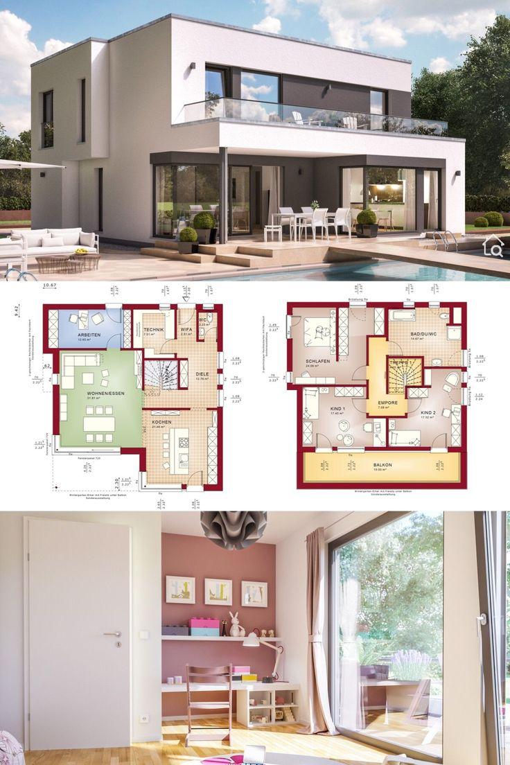 Stadtvilla Fertighaus modern im Bauhausstil mit Fl…