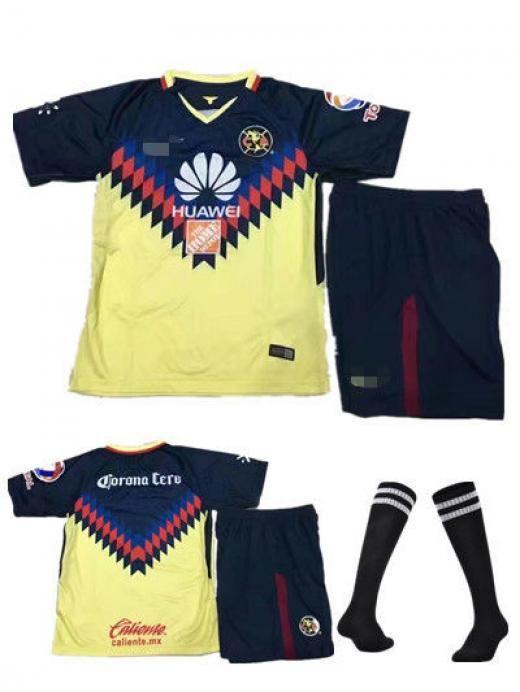 cf424fdecb3 17/18 Club America Football Kits Soccer Jersey Shorts Socks Boy Size 2-15  Years Boys' Short Sleeve No China Yellow