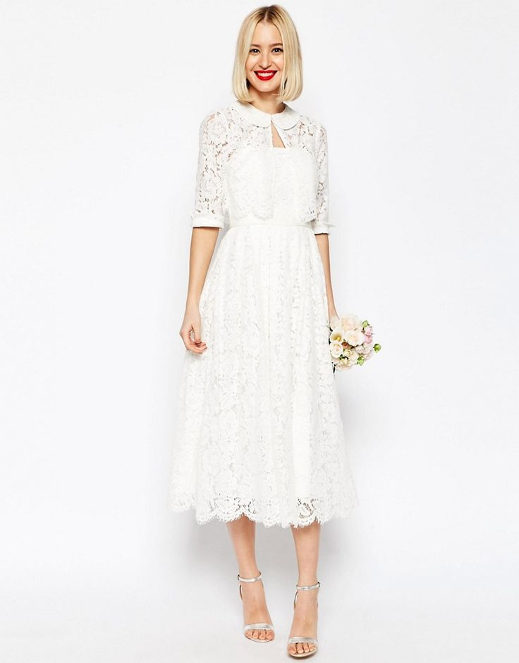 1960s Style Wedding Dresses ASOS BRIDAL Lace Bandeau Midi Prom Dress With Crop Jacket - White $242.00 AT vintagedancer.com