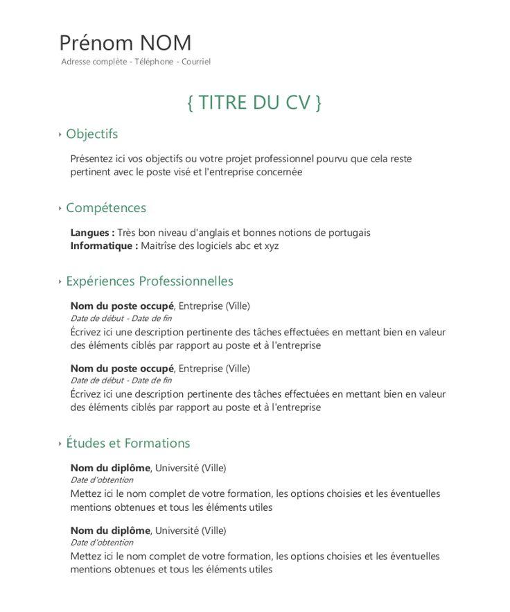 Cv Objectifs Exemple Cv Modele Cv Maitrise De Soi