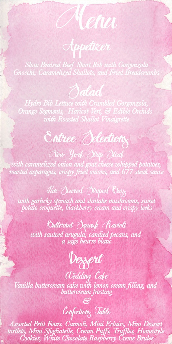 Mer enn 25 bra ideer om Wedding dinner menu på Pinterest - wedding menu