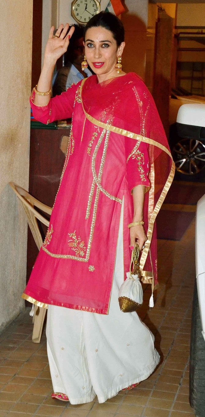 Karisma Kapoor at Saif Ali Khan's #Diwali bash. #Bollywood #Fashion #Style #Beauty #Hot #Desi