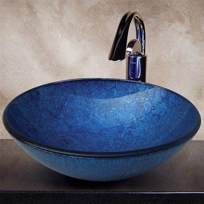Yosemite Home Decor CAMDEN Royal Round Glass Basin Vessel Sink, Blue Polished