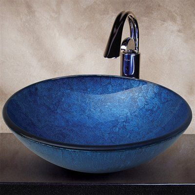 Yosemite Home Decor CAMDEN Royal Round Glass Basin Vessel Sink, Blue Polished