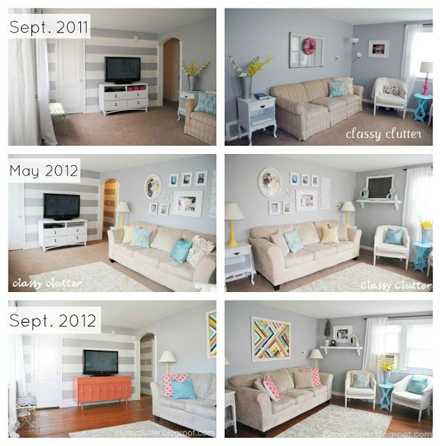 Coral and Mint Living Room Reveal -  SEE LAYOUT OF SEPT 2012 REVEAL WITH SOFA AND 2 TUB CHAIRS IN CORNER OF LR.