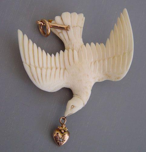 Victorian ivory bird pendant