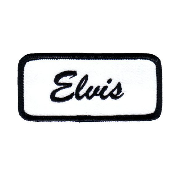Name Tag Elvis Black & White Patch Rock and Roll