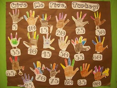 counting by 5's. Have students trace, color and cutout their hand shapes.