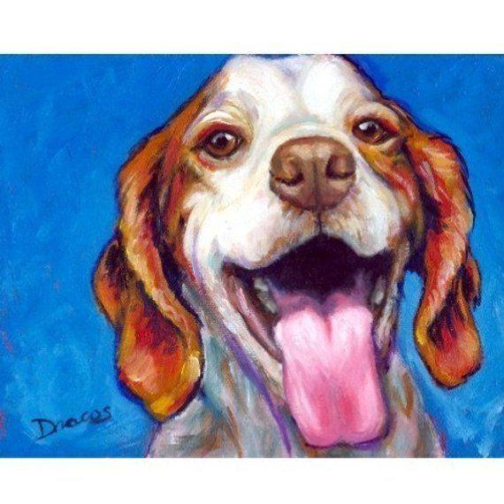 Brittany Spaniel Art Print Van Originele Acryl Schilderij Big Smile Spaniel Art Dog Print Art Dog Art