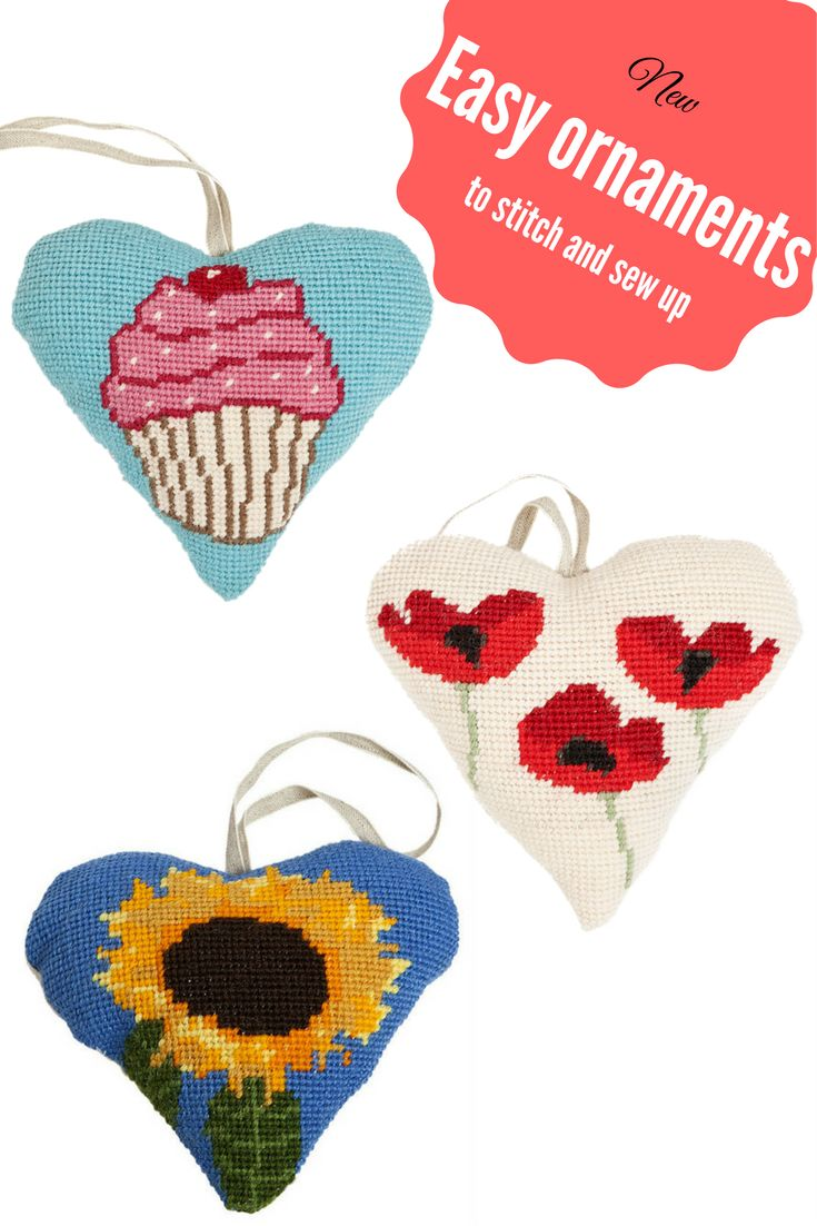 New easy needlepoint kits to stitch and sew into ornaments. A  quick craft project that needs no experience.