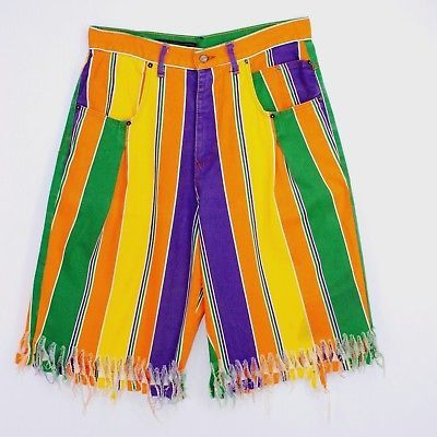 Creepy Clown Halloween Shorts Karl Kani Jeans XL Orange Purple Green Stripes