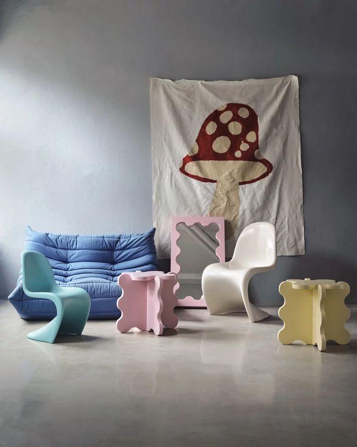 Pastel Room, Pastel House, Room Ideas Bedroom, Bedroom Decor, Memphis Design, Minimalist Scandinavian, Scandinavian Furniture, Aesthetic Bedroom, Decoration