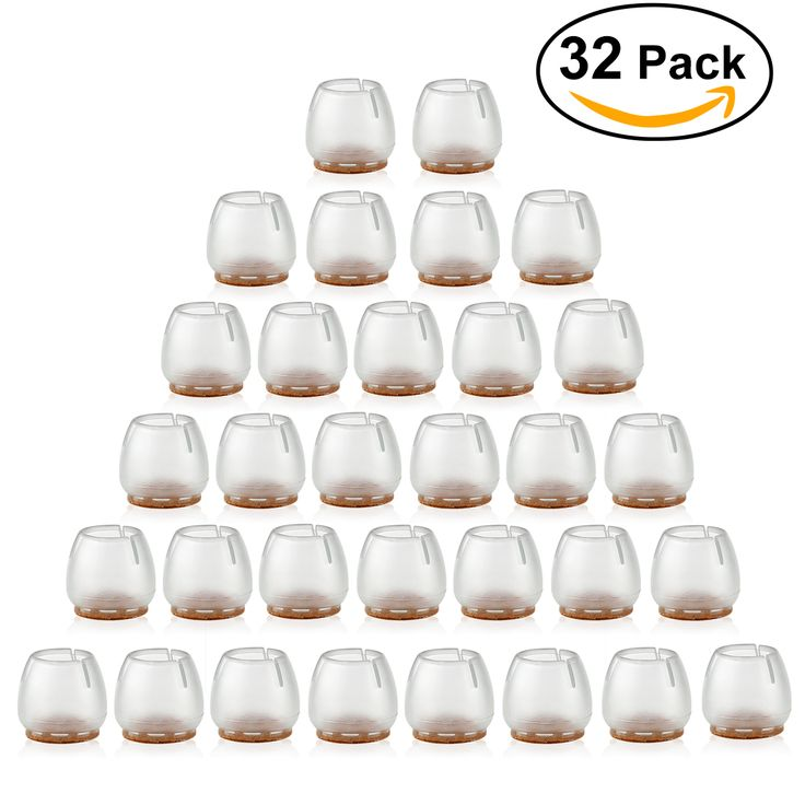 32pcs Silicone Chair Leg Caps Feet Pads Furniture Table Covers Floor Protectors for 25-29MM Round Legs (Transparent+Brown)