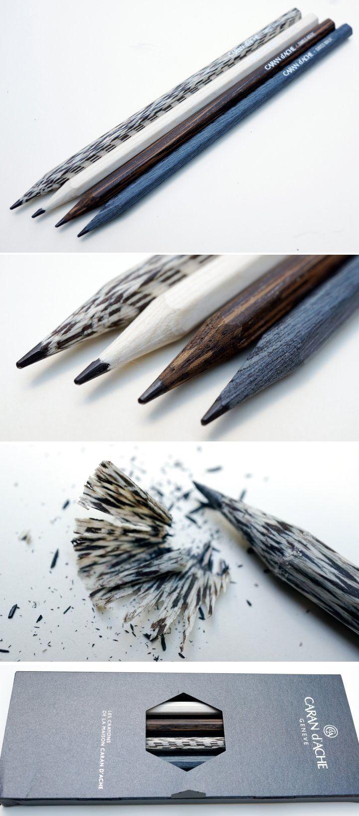 beautiful pencils made from titanium oak, macassar ebony, lati gray, and american walnut made by les crayons de la maison caran d'ache.