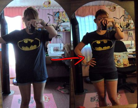 How to re-size a large t-shirt. I love this! Girls t-shirts are never big enough for my shoulders but guy's t-shirts are too big. Problem solved!