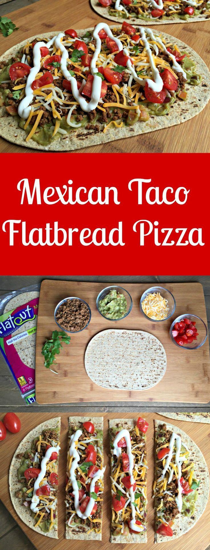 Mexican taco flatbread pizza with flatout