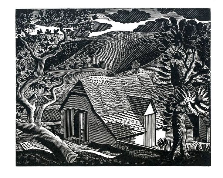 """Sussex Landscape"" by Eric Ravilious, 1931 (wood engraving)"