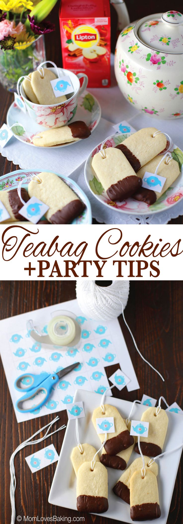 Host a ladies tea party, plus how to make these adorable Teabag Cookies! #LiptonTeaTime #Sponsored