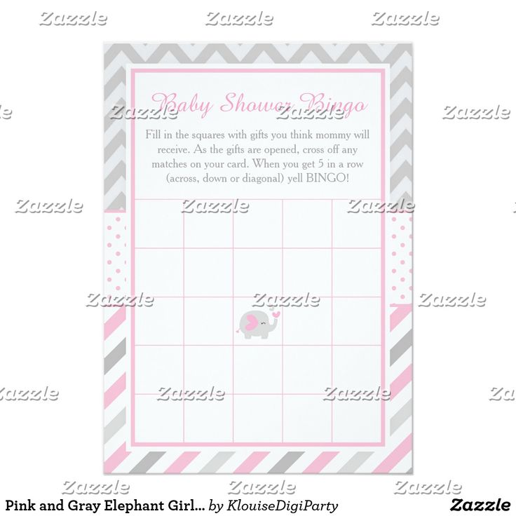 Pink and Gray Elephant Girl Baby Shower Bingo Card