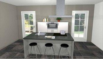 Eiland keuken, 180 cm lang met kook- en spoeleiland 180 x 90