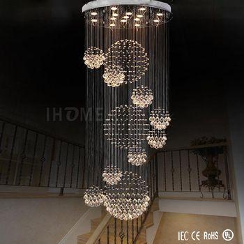 Wholesale new style elegant long spiral crystal ball rain drop round chandelier hotel modern crystal chandeliers
