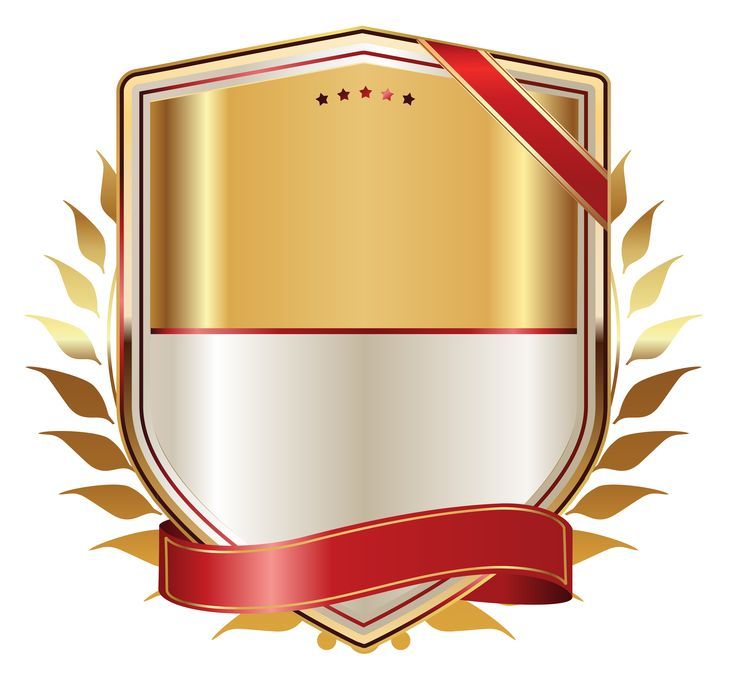 Golden Label with Gold Ribbon PNG Clipart Image