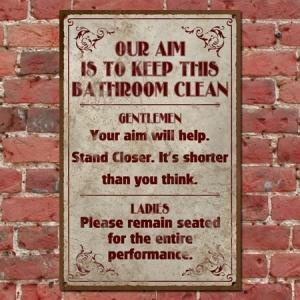 Funny Vintage Bathroom Sign, Clean Bathroom Retro Pub Sign, Classic Distressed T