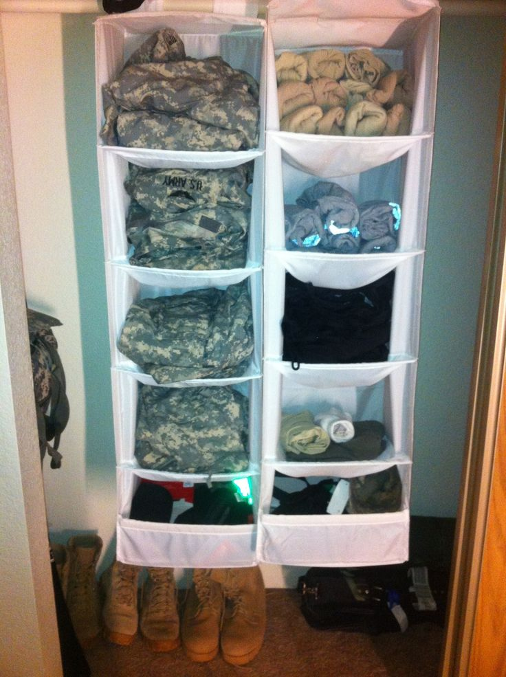 Saving room in the closet with all the military gear. Closet organizing