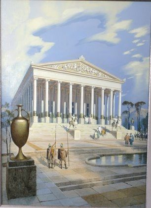 Seven Wonders art by Mario Larrinaga: The Temple of Artemis