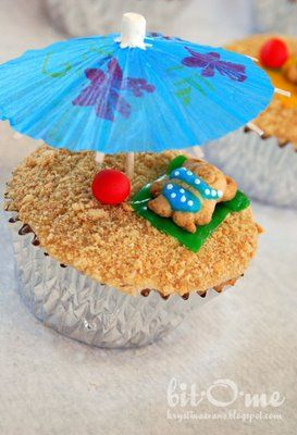 swimming party cupcake