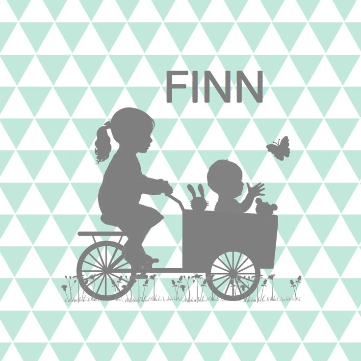 Bijzonder hip en leuk geboortekaartje van zusje en bakfietsje met baby jongetje, aanpasbare teksten en doorlopende binnenkant