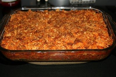 Taco Bake Ingredients: 1 lb. hamburger 1 pkg. taco seasoning 8 oz. sour cream 1 pkg. crescent rolls (8) 1 can tomato sauce 1 can diced tomatoes 1 c. shredded cheese 1. Brown hamburger and drain. 2. Add taco seasoning, tomato sauce, tiny bit of water, and diced tomatoes. Simmer.. 3. In 9x13 dish, press out crescent rolls and roll them to form crust. 4. Layer hamburger mixture, sour cream and then cheese. 5. Crush about 3/4 of a bag of Doritos and put them on top. Bake at 350 for 30 min.Tacos Seasons, Sour Cream, Fun Recipe, Mr. Tacos, Doritos Tacos, Meat Mondays, Tacos Baking, Doritos Casseroles Beef, Crescents Rolls