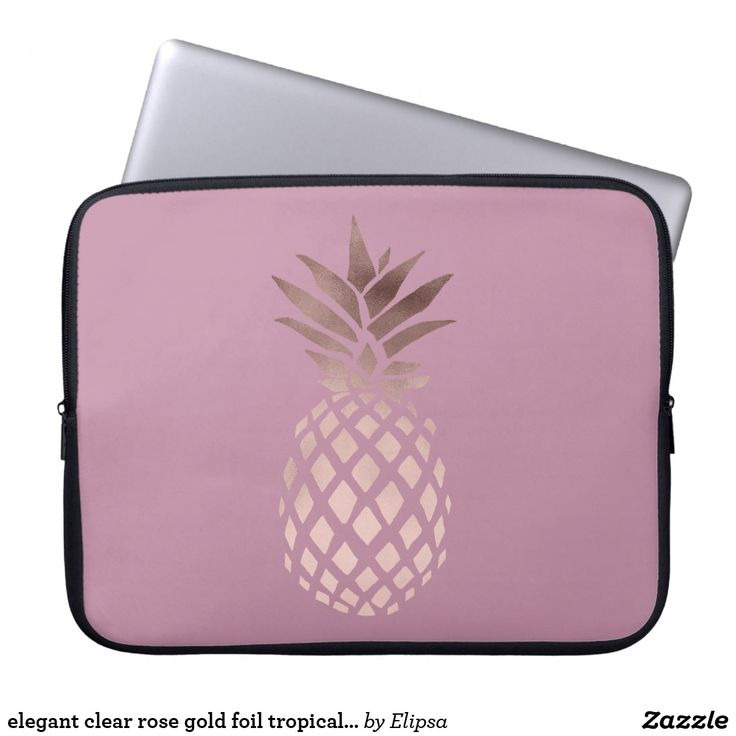 elegant clear rose gold foil tropical pineapple laptop sleeve